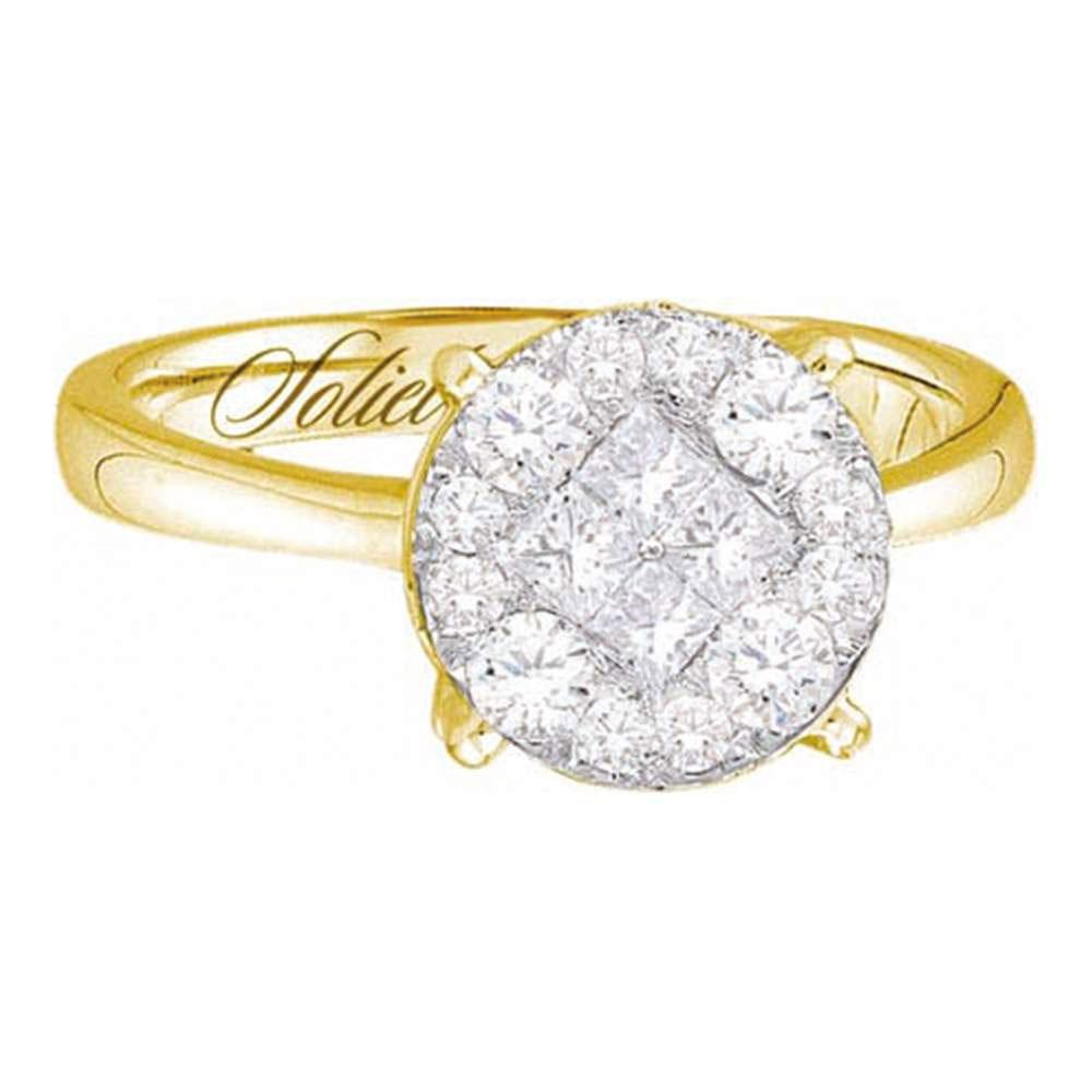 Diamond Soleil Cluster Bridal Wedding Engagement Ring 14kt Yellow Gold