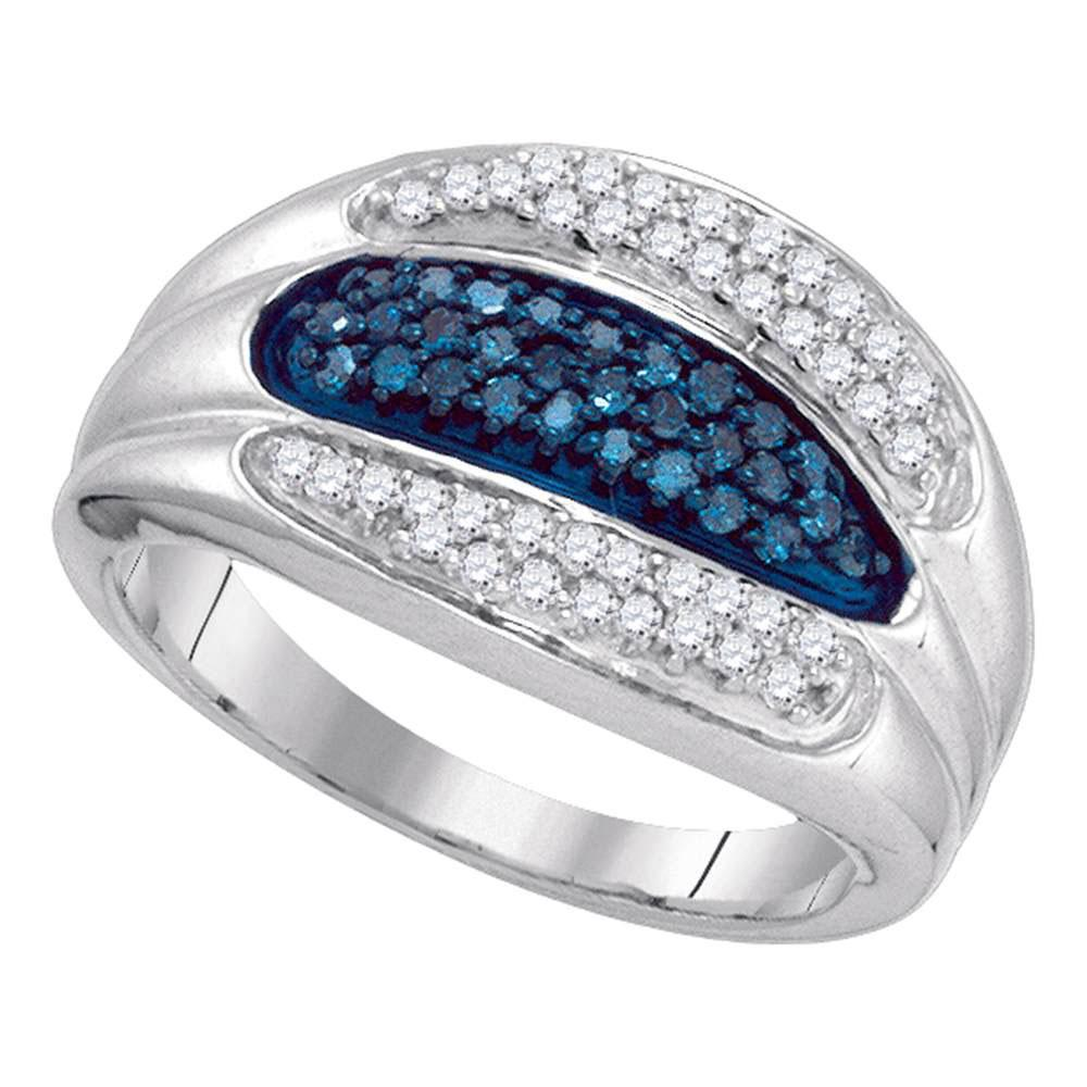 Blue Color Enhanced Diamond Triple Row Band 10kt White Gold