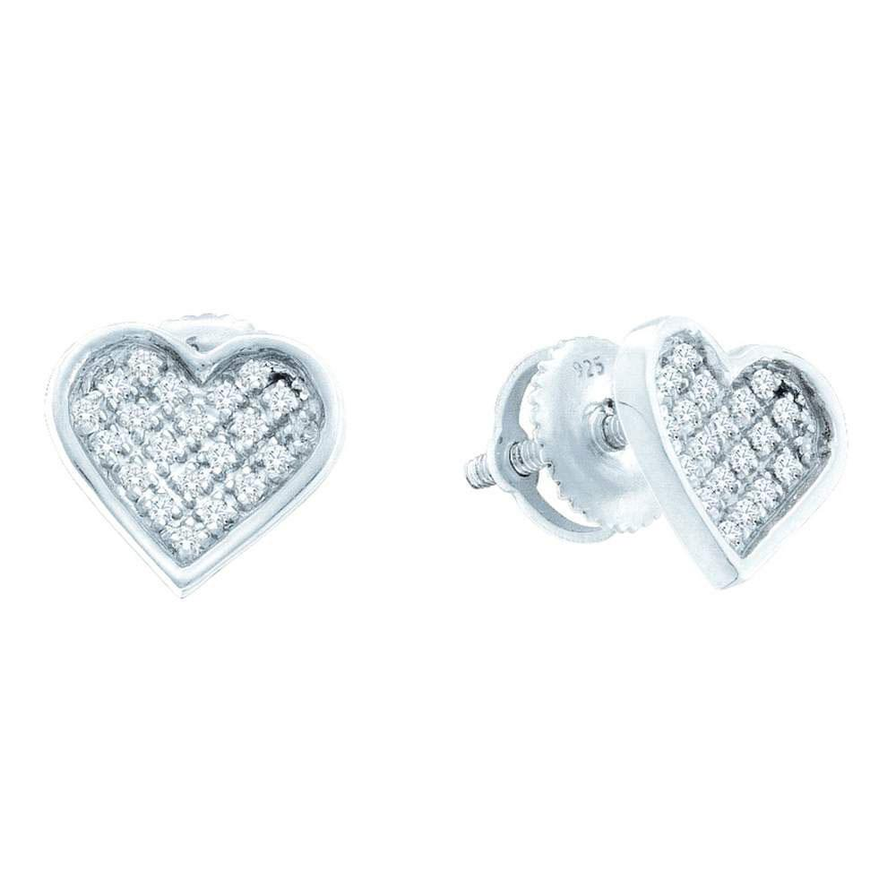 Diamond Concave Heart Cluster Screwback Earrings Sterling Silver