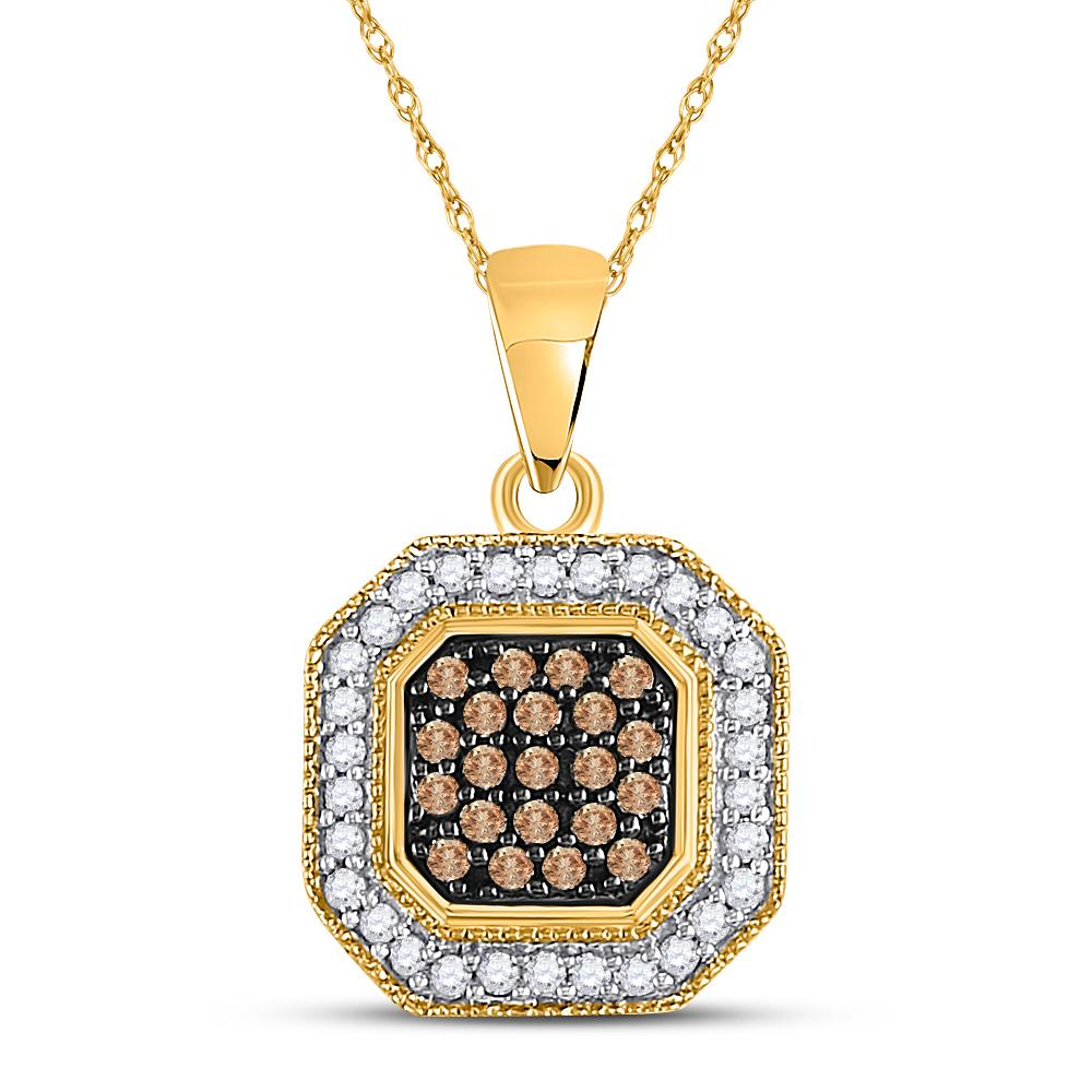 Brown Diamond Octagon Cluster Pendant 10kt Yellow Gold