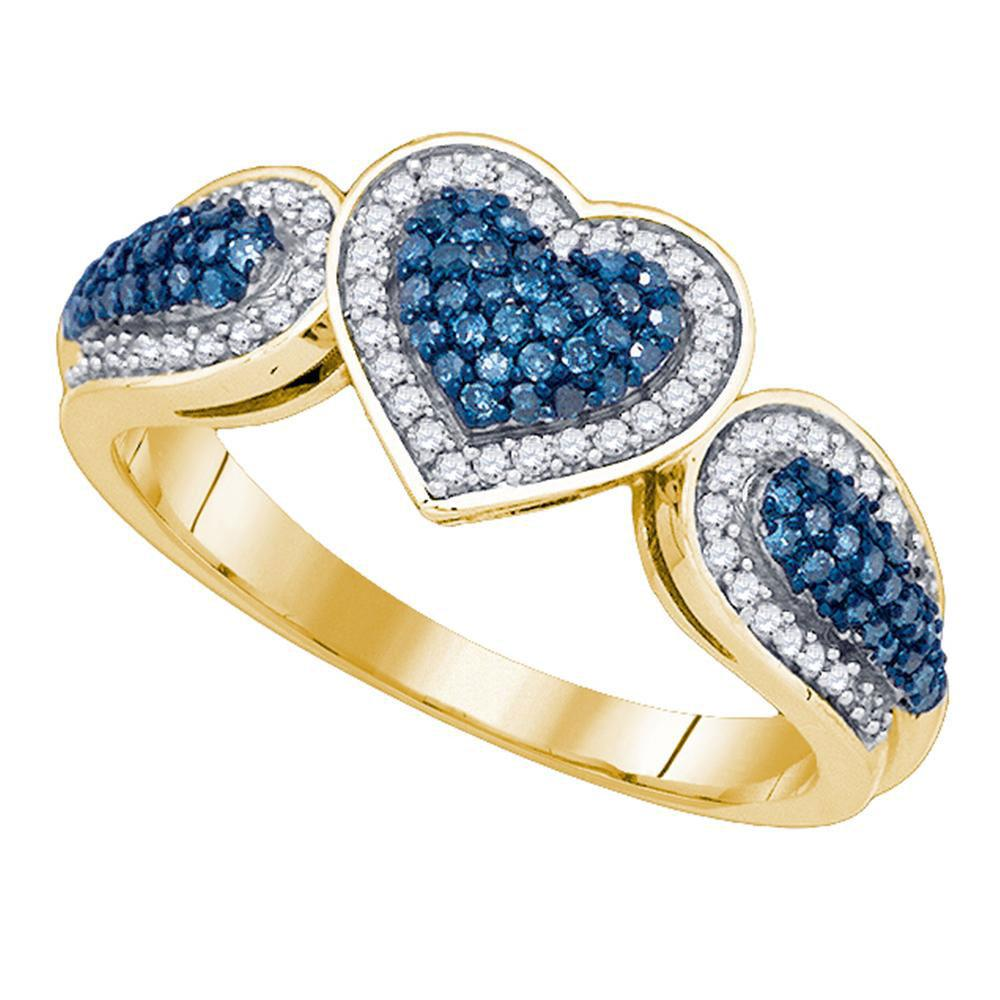 Blue Color Enhanced Diamond Heart Ring 10kt Yellow Gold