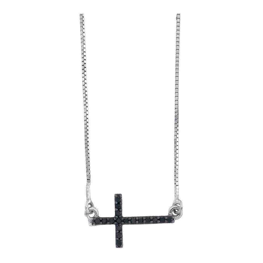 Black Color Enhanced Diamond Horizontal Cross Necklace 10kt White Gold