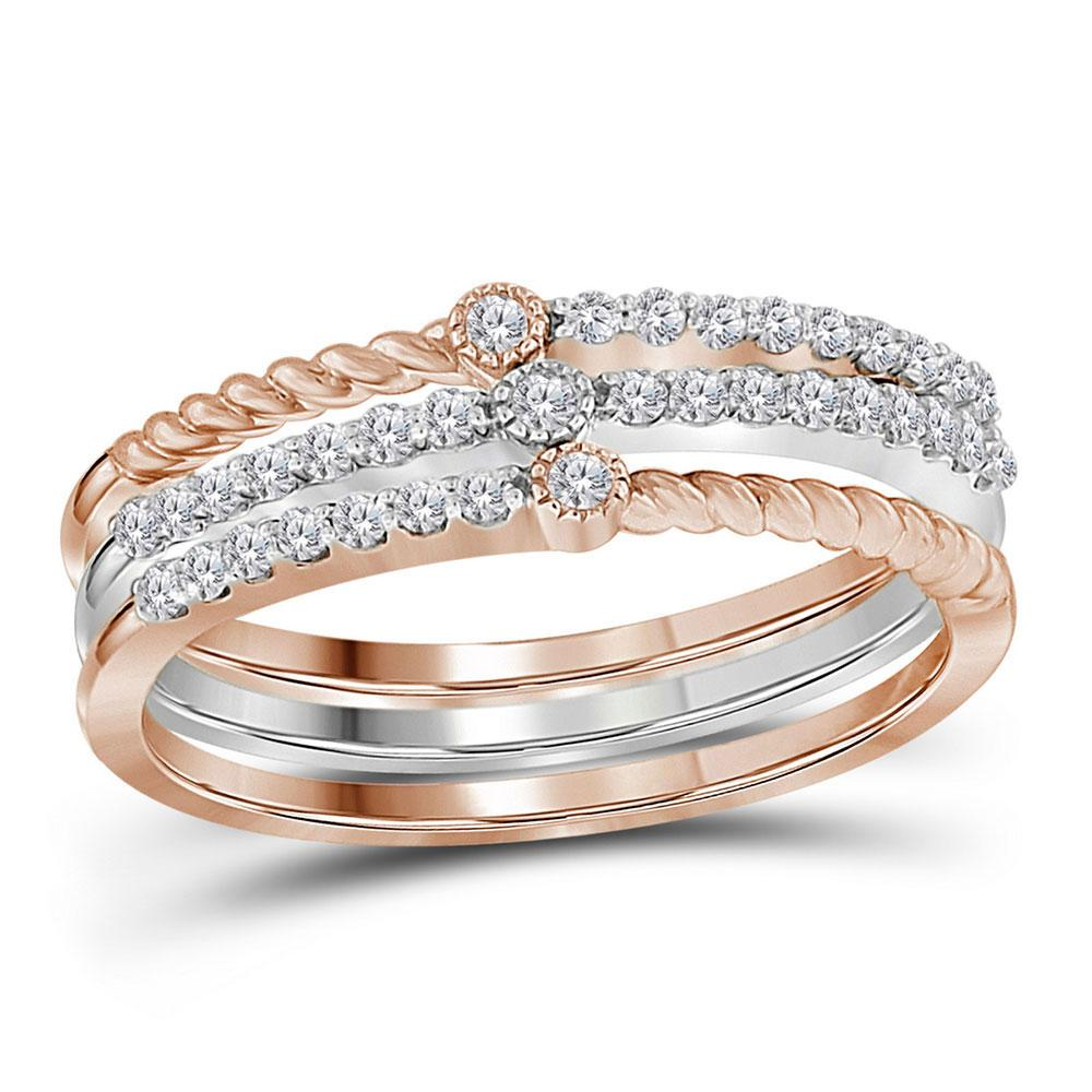 Diamond Stackable Bands Set 10kt Two-tone White Rose Gold