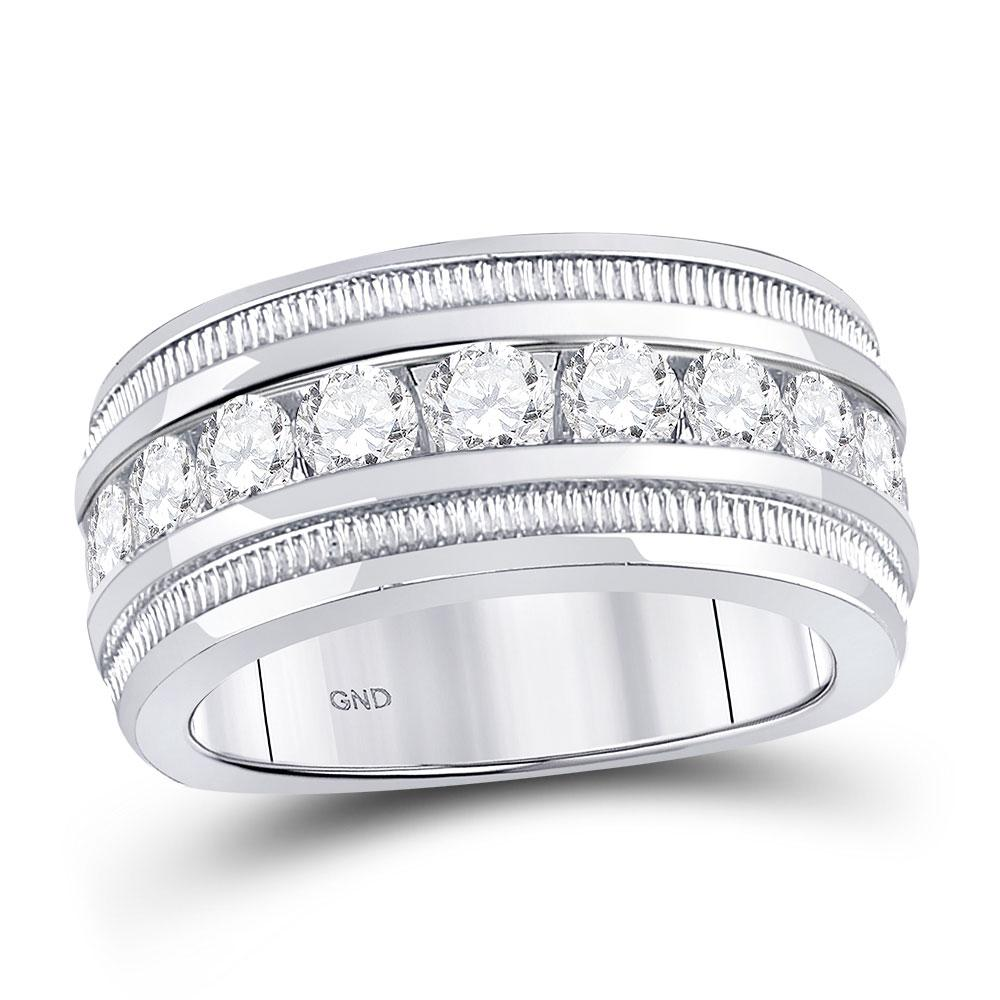 Mens Diamond Single Row Fluted Wedding Band 14kt White Gold