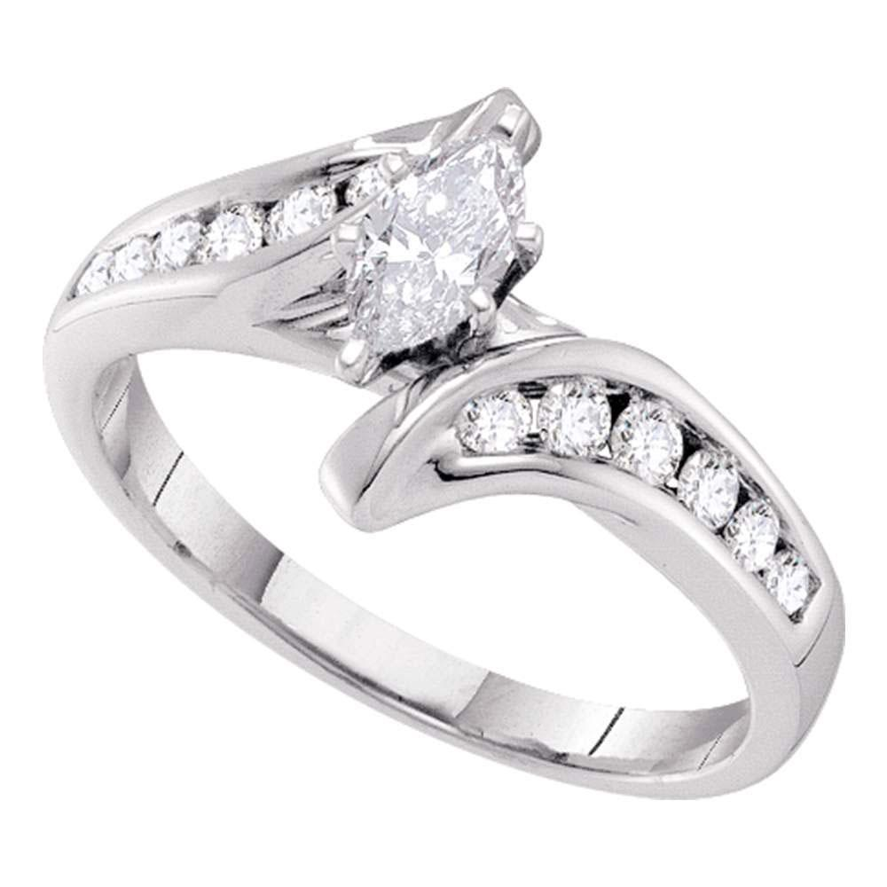 Marquise Diamond Solitaire Bridal Wedding Engagement Ring 14kt White Gold