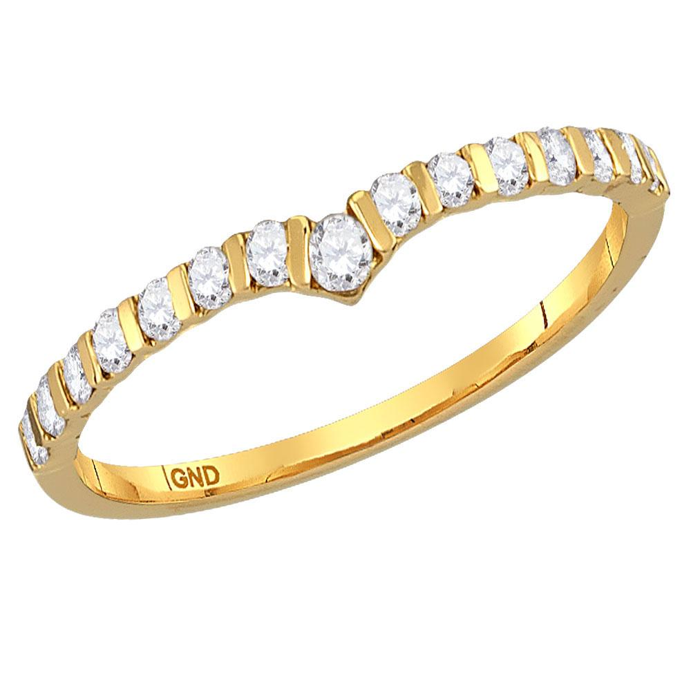 Diamond Chevron Stackable Band 10kt Yellow Gold