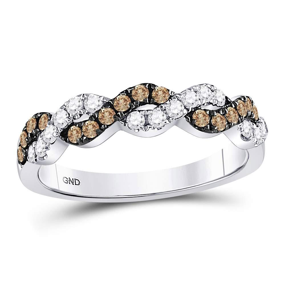 Brown Diamond Braided Band 10kt White Gold