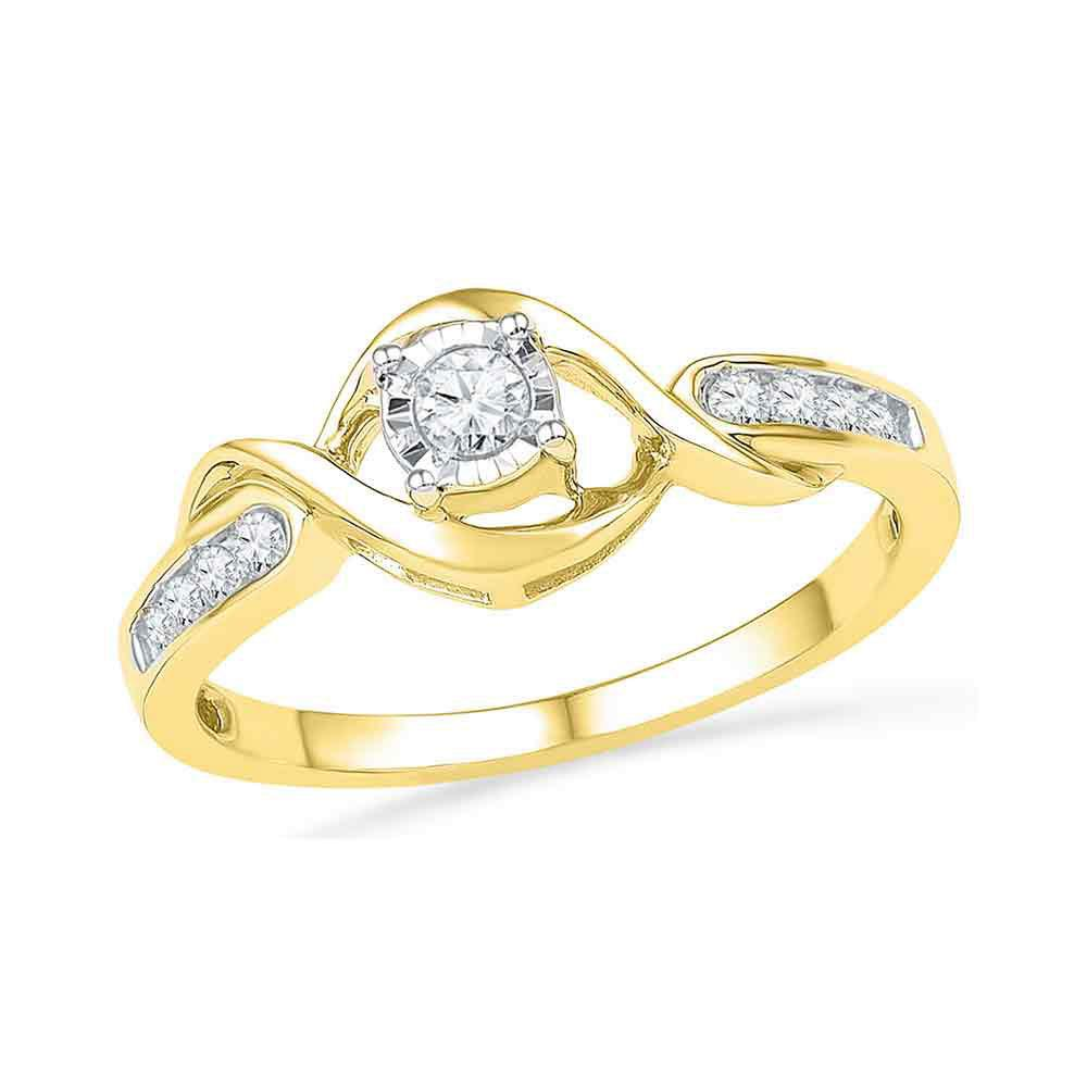 Diamond Solitaire Twist Promise Bridal Ring 10kt Yellow Gold