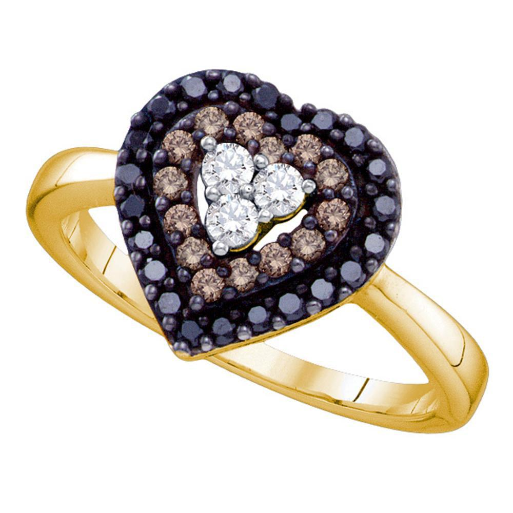 Black Color Enhanced Diamond Heart Ring 14kt Yellow Gold