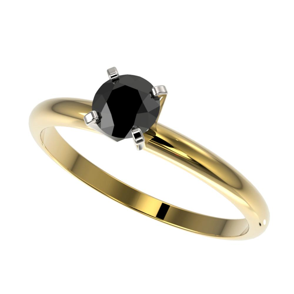 0.50 CTW Genuine Fancy Black Diamond Solitaire Ring 10K Yellow Gold