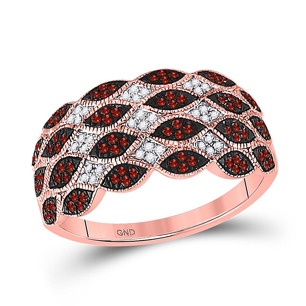 Red Color Enhanced Diamond Band 10kt Rose Gold