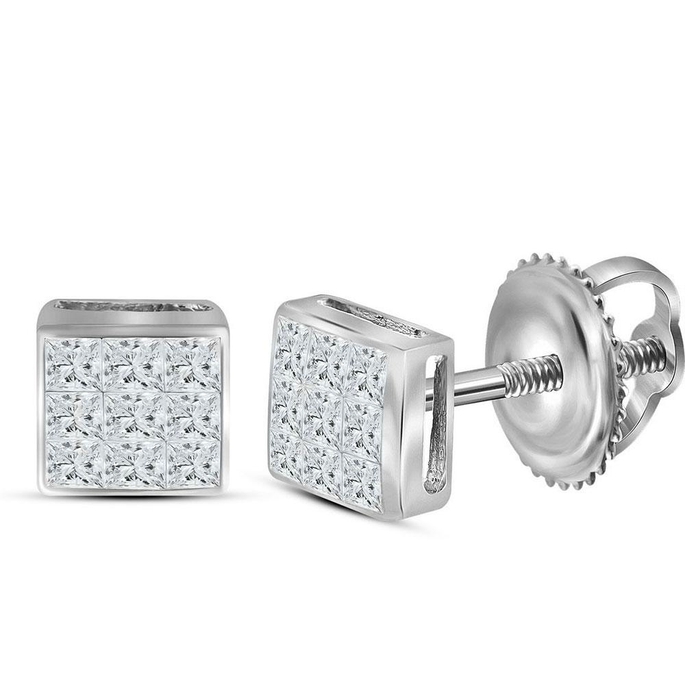 Princess Diamond Square Cluster Stud Earrings 14kt White Gold