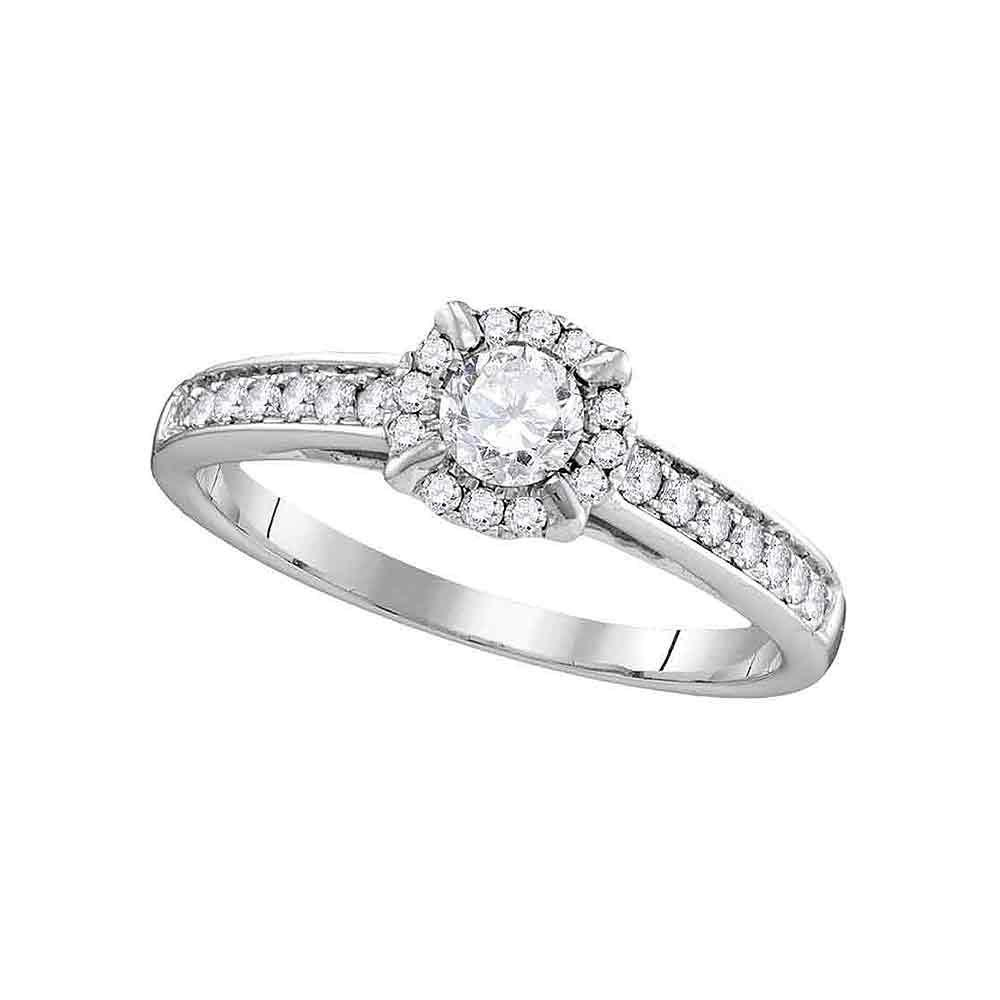 Diamond Solitaire Bridal Wedding Engagement Ring 14kt White Gold