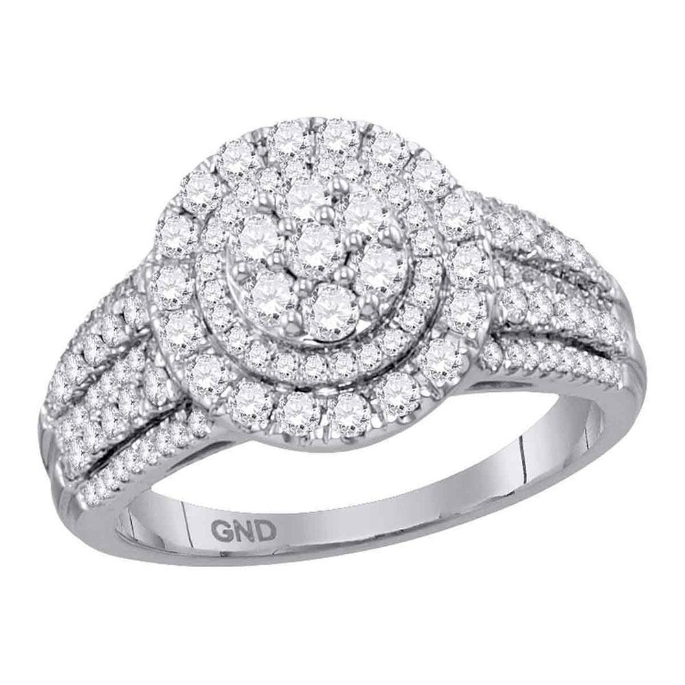 Diamond Concentric Circle Cluster Bridal Wedding Engagement Ring 14kt White Gold