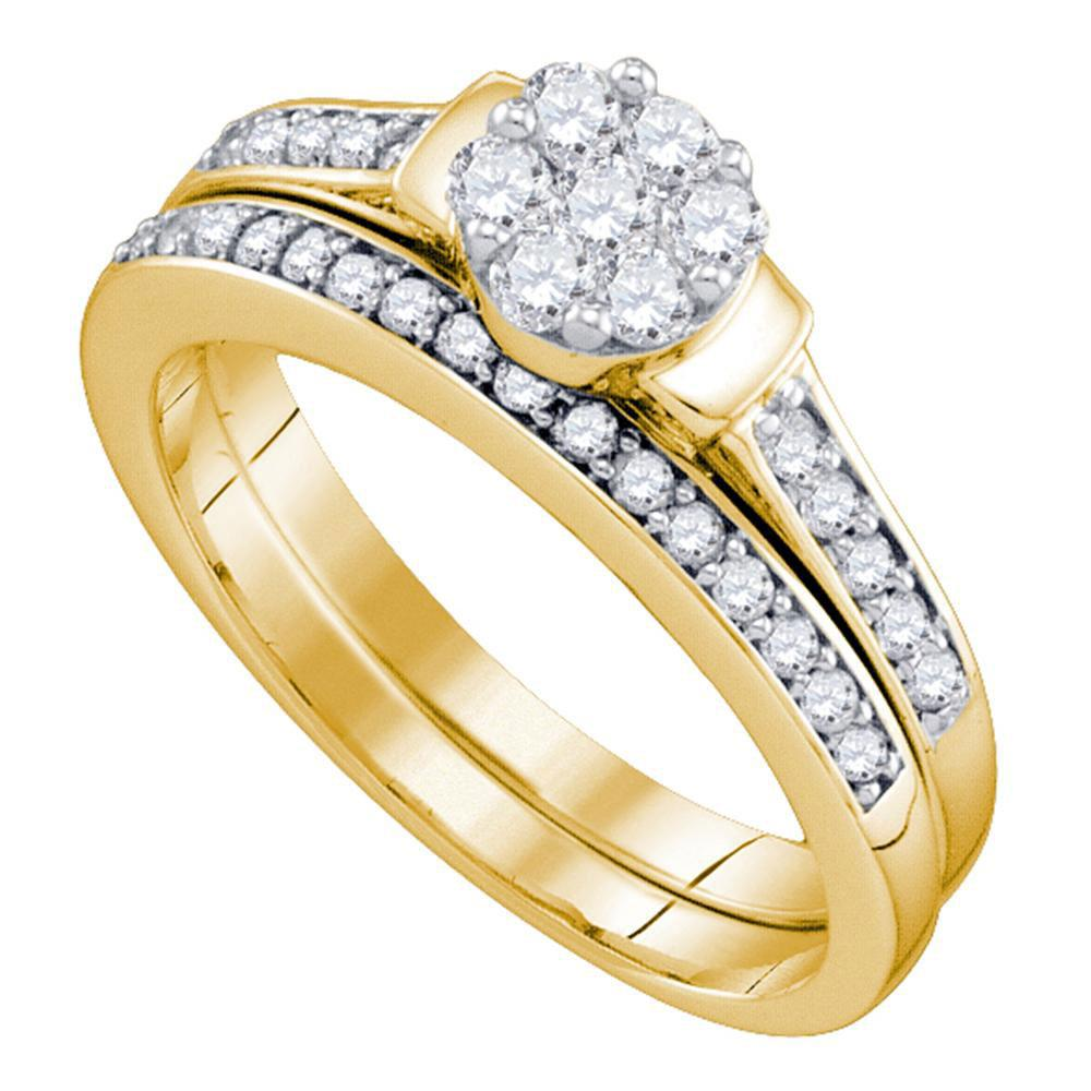 Diamond Cluster Bridal Wedding Engagement Ring 10kt Yellow Gold