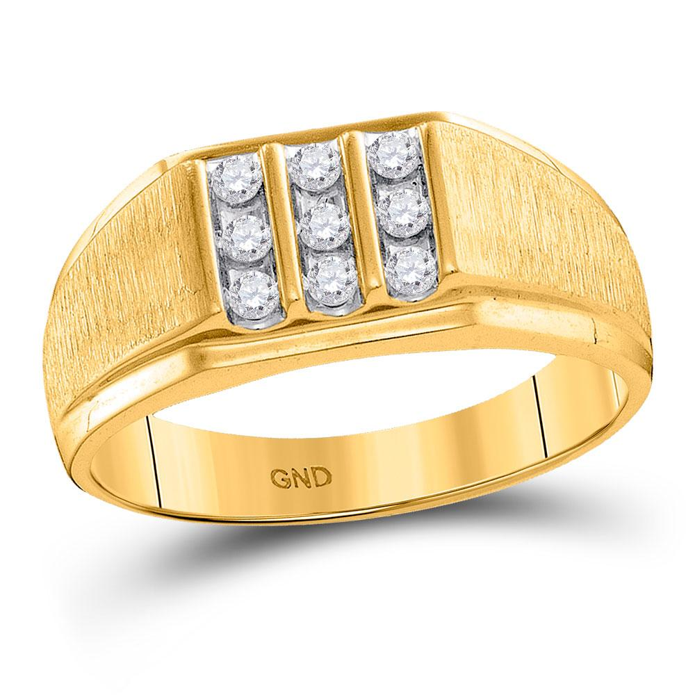 Mens Diamond Cluster Ring 10kt Yellow Gold