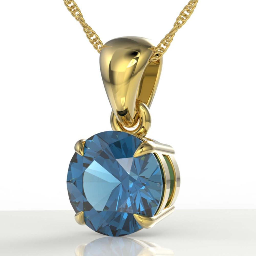 2 CTW Genuine London Blue Topaz Necklace 18K Yellow Gold