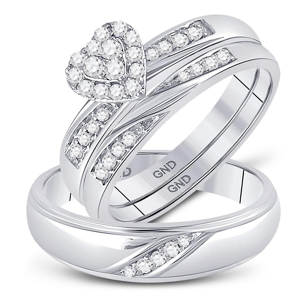 His Hers Diamond Heart Matching Bridal Wedding Ring 10kt White Gold