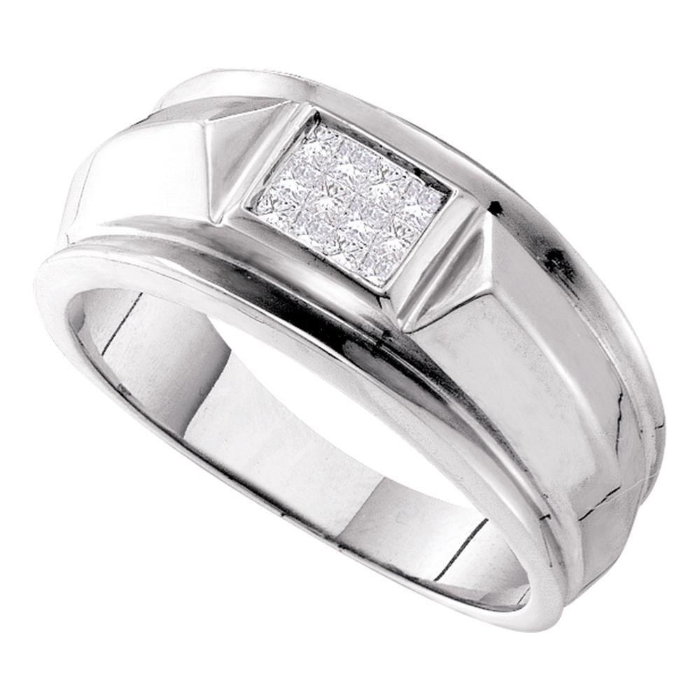 Mens Princess Diamond Cluster Band 14kt White Gold