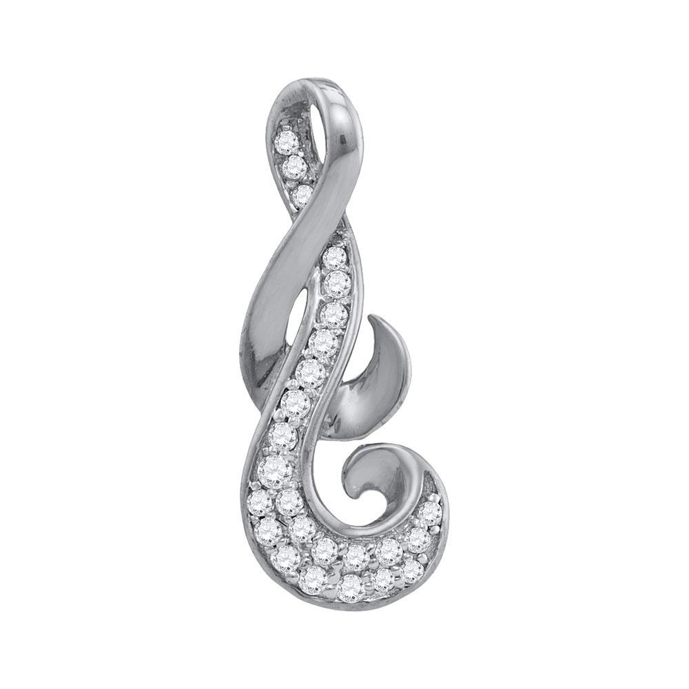 Diamond Cluster Curled Pendant 10kt White Gold