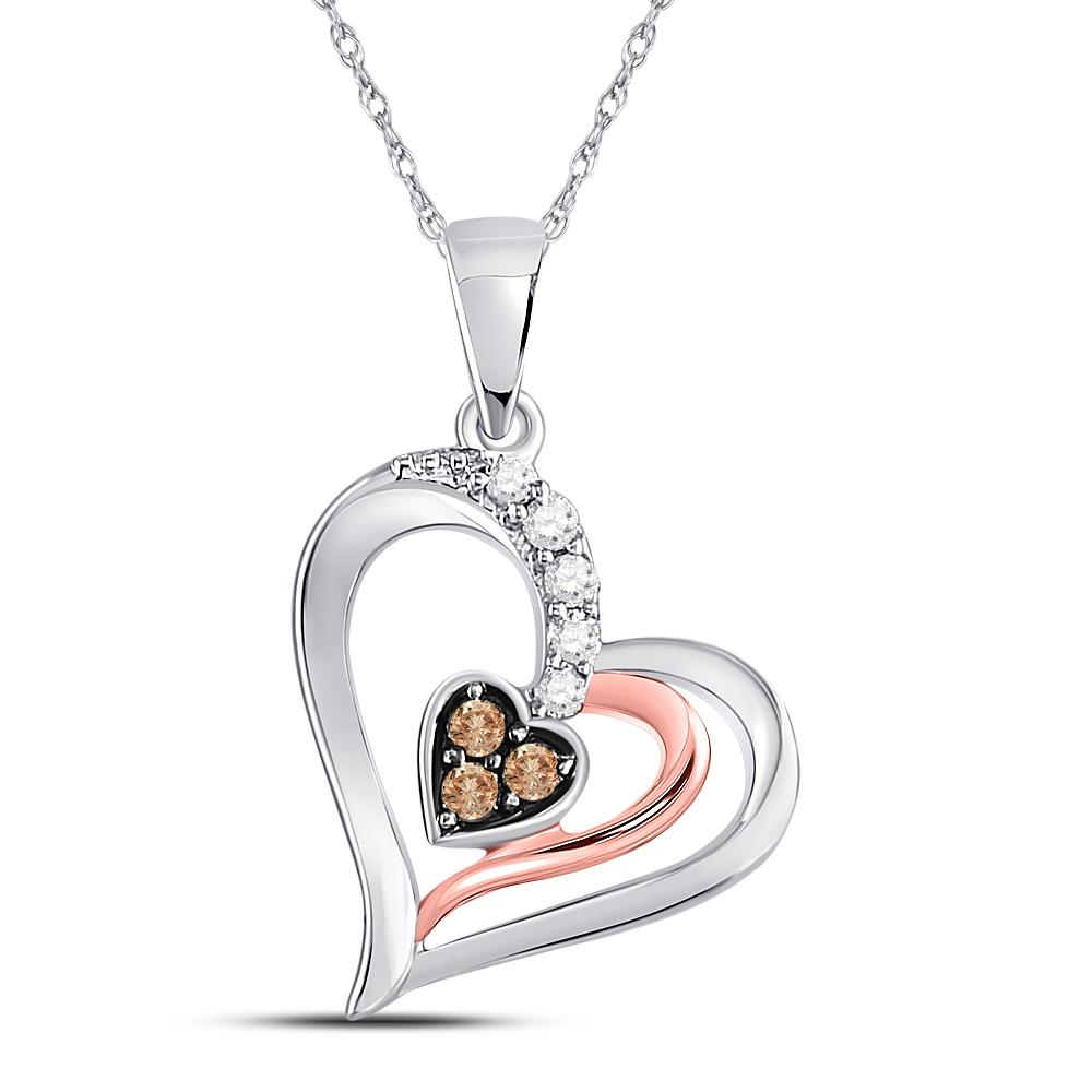 Brown Diamond Heart Pendant 10kt Two-tone Gold