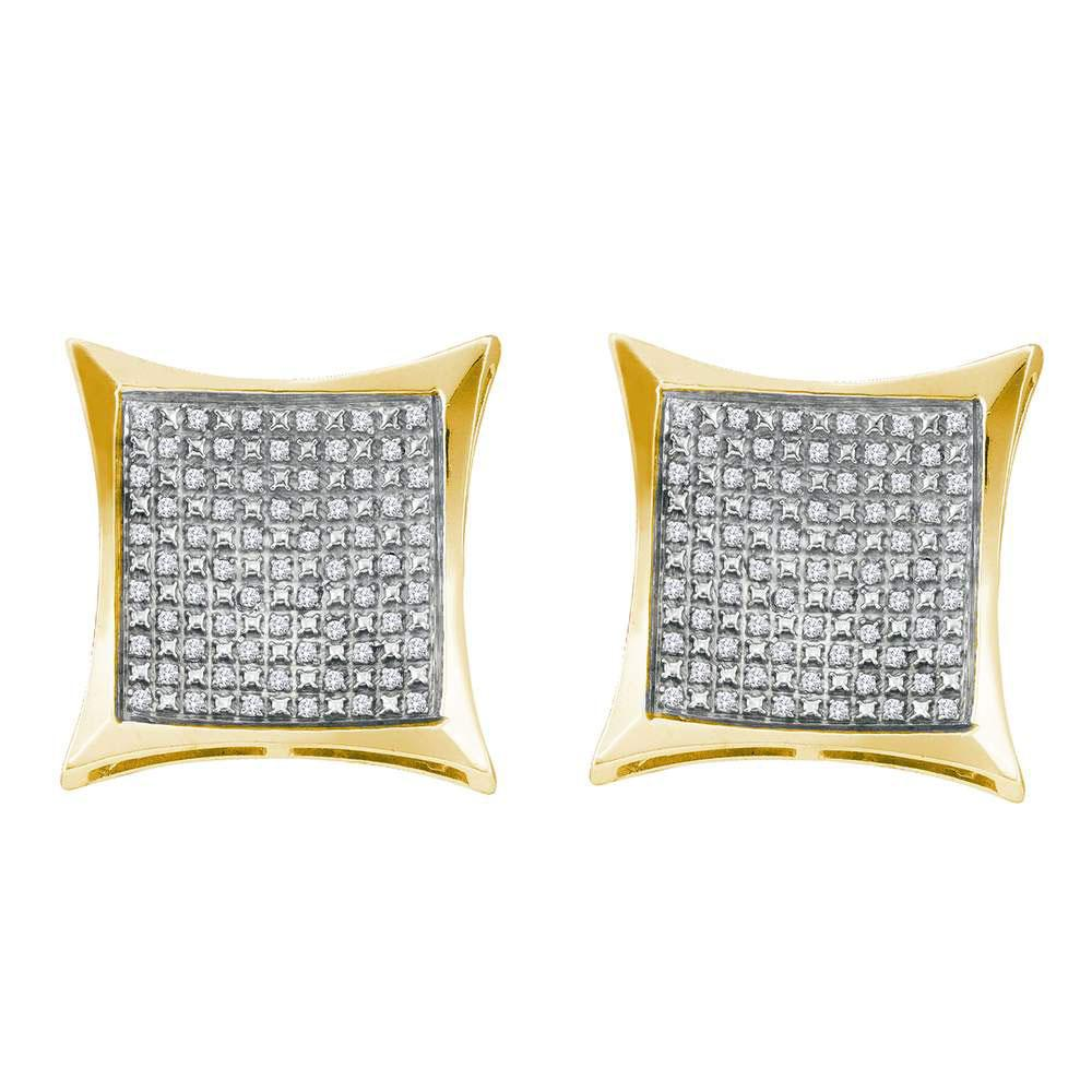 Diamond Square Kite Cluster Screwback Earrings Yellow-tone Sterling Silver