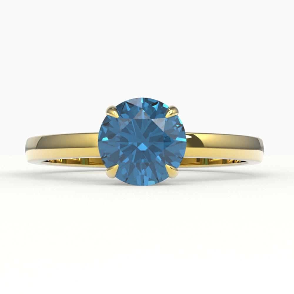 2 CTW Genuine London Blue Topaz Ring 18K Yellow Gold