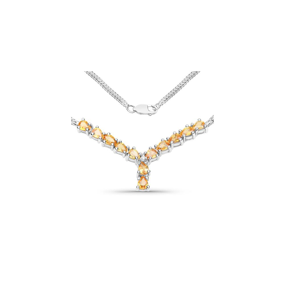 1.81 CTW Genuine Yellow Sapphire & White Diamond .925 Sterling Silver Necklace