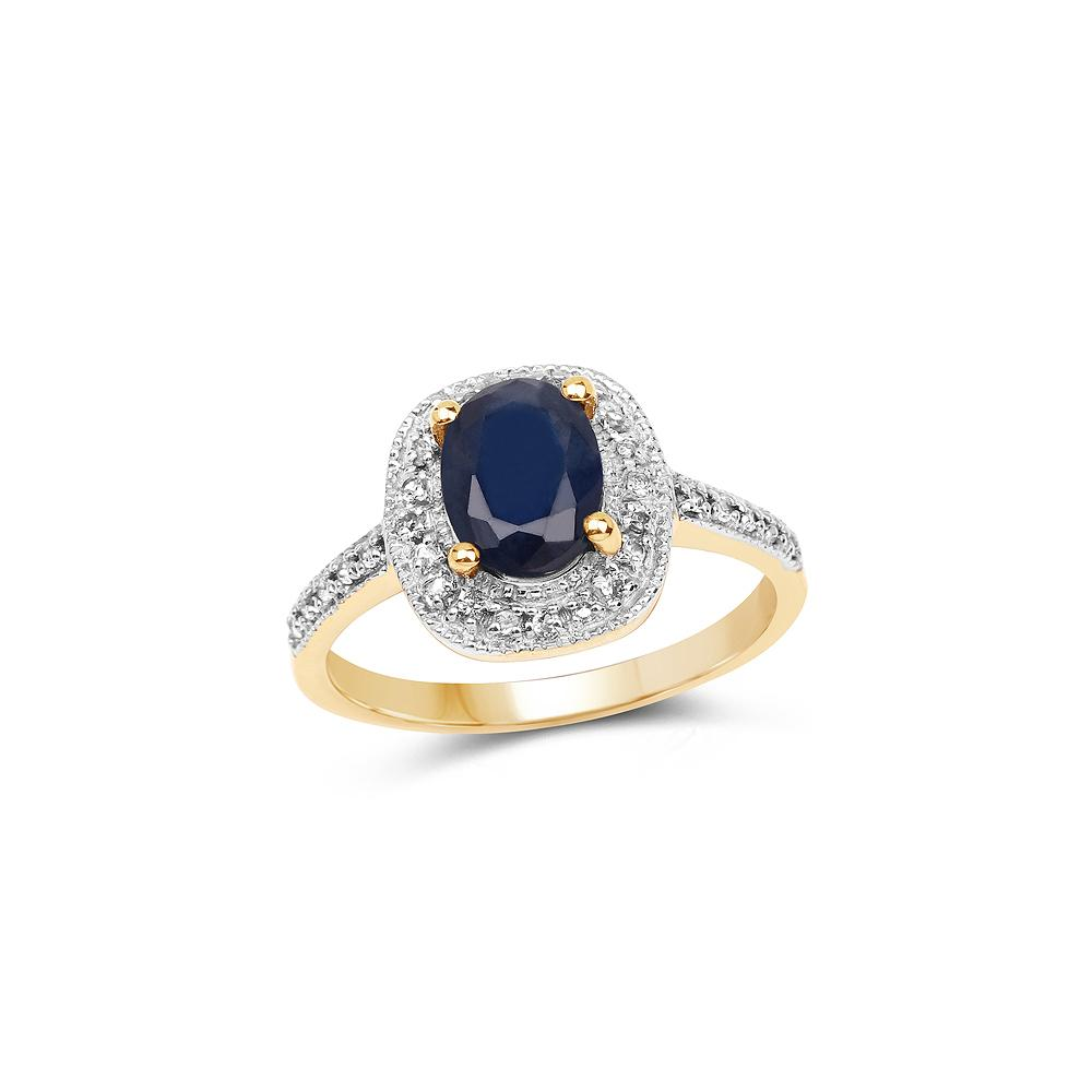 1.68 CTW Genuine Blue Sapphire & White Topaz .925 Sterling Silver Ring