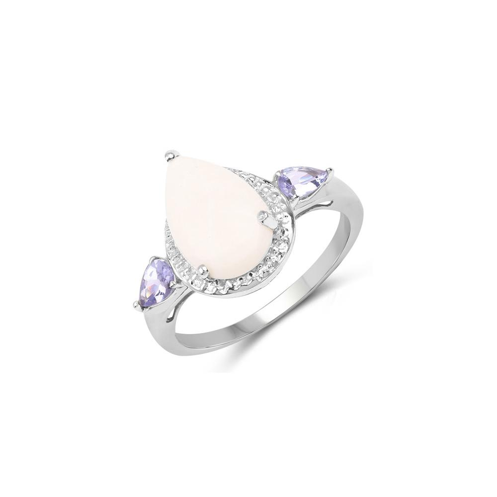 2.26 CTW Genuine Opal & Tanzanite .925 Sterling Silver Ring