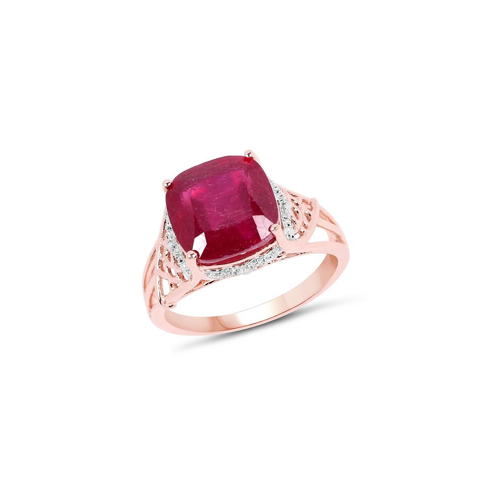 5.54 CTW Genuine Glass Filled Ruby & White Topaz .925 Sterling Silver Ring