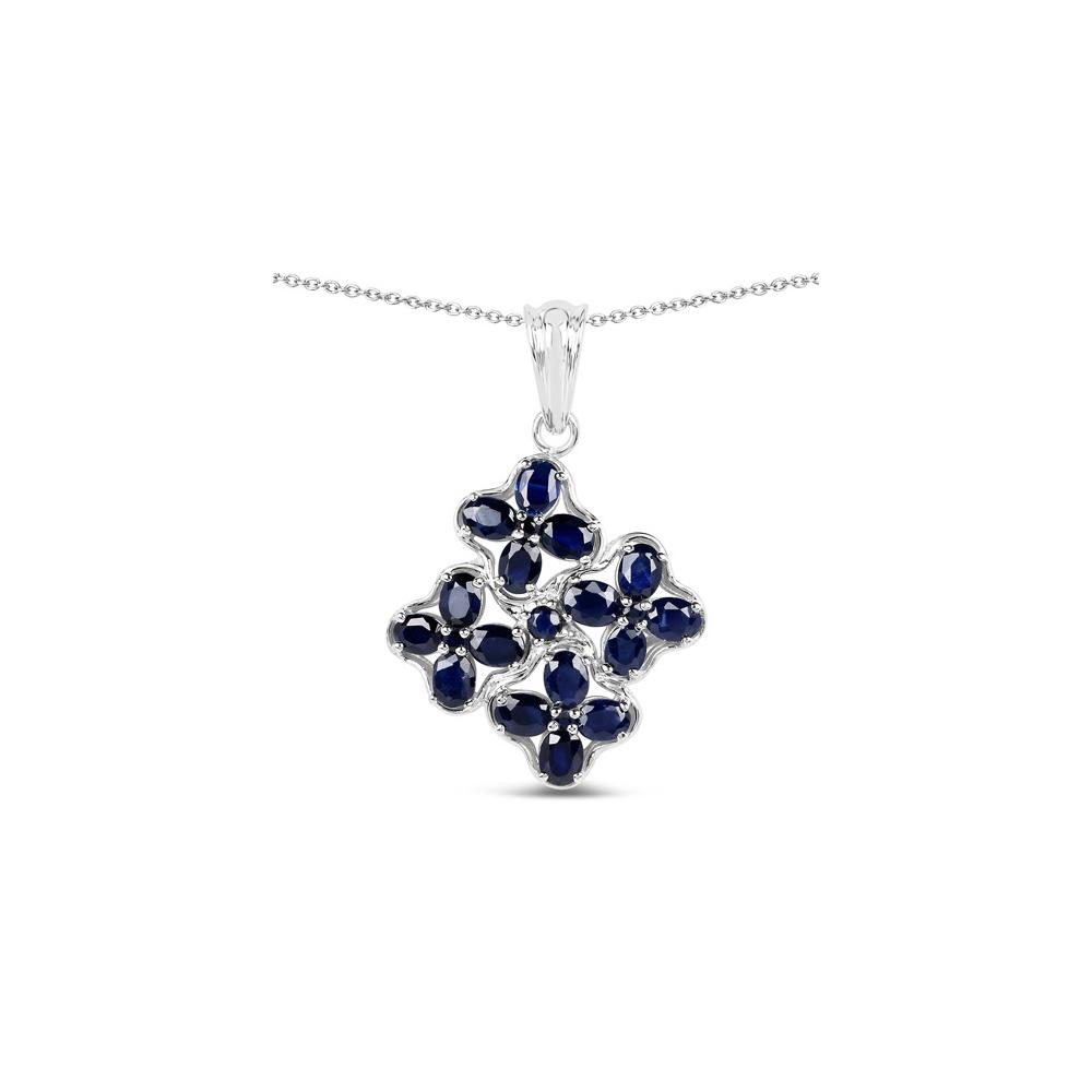 3.68 CTW Genuine Blue Sapphire .925 Sterling Silver Pendant
