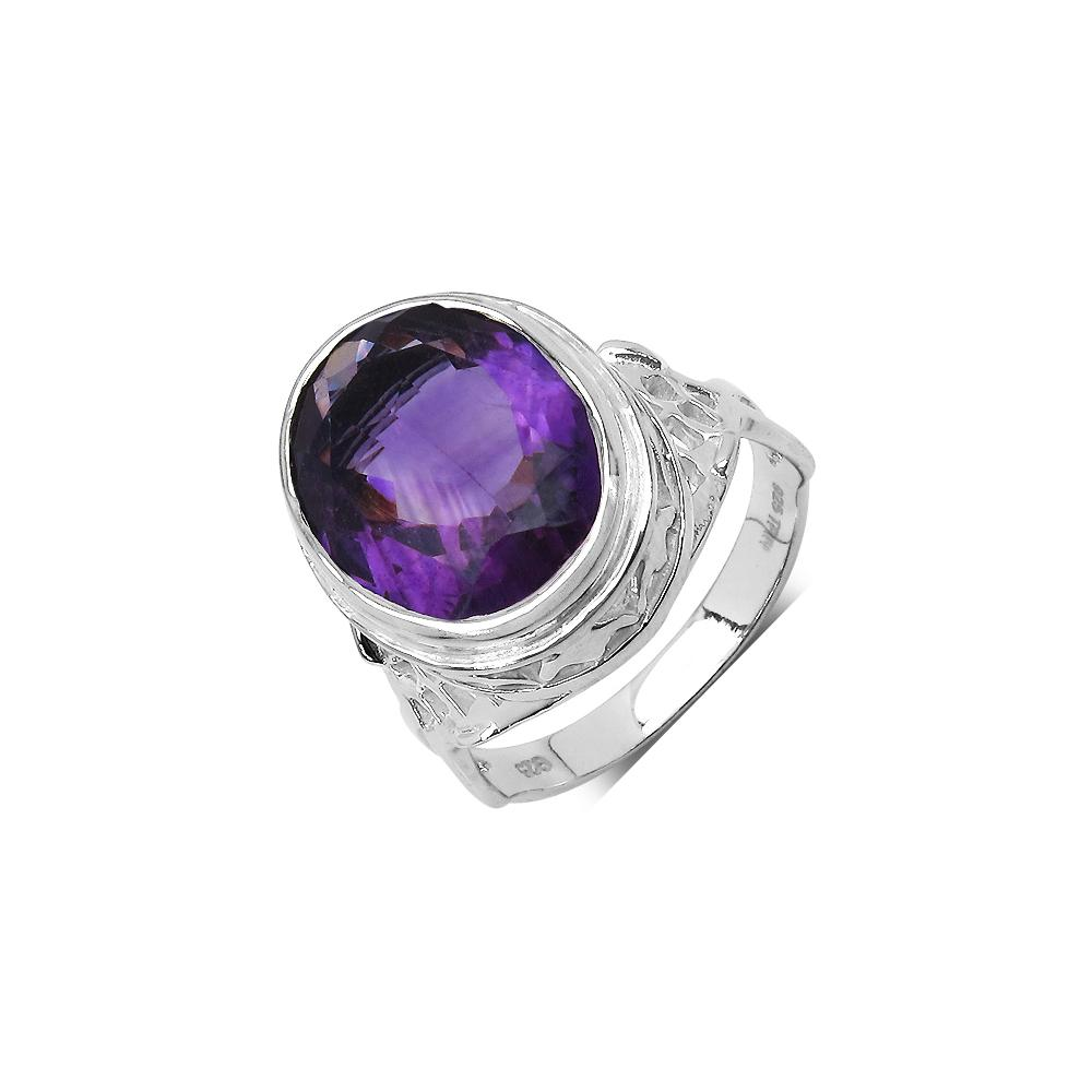 7.83 CTW Genuine Amethyst .925 Sterling Silver Ring