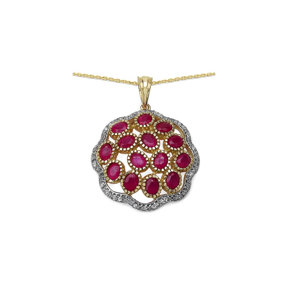 4.00 CTW Genuine Ruby & White Topaz .925 Streling Silver Pendant