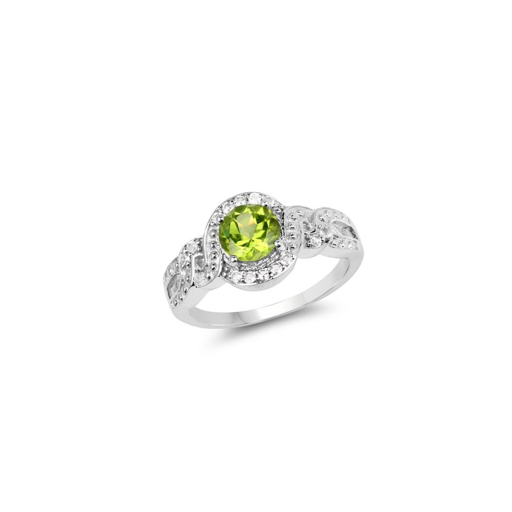 2.55 CTW Genuine Peridot & White Topaz .925 Sterling Silver Ring