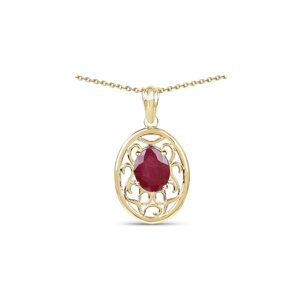 3.10 CTW Glass Filled Ruby .925 Sterling Silver Pendant