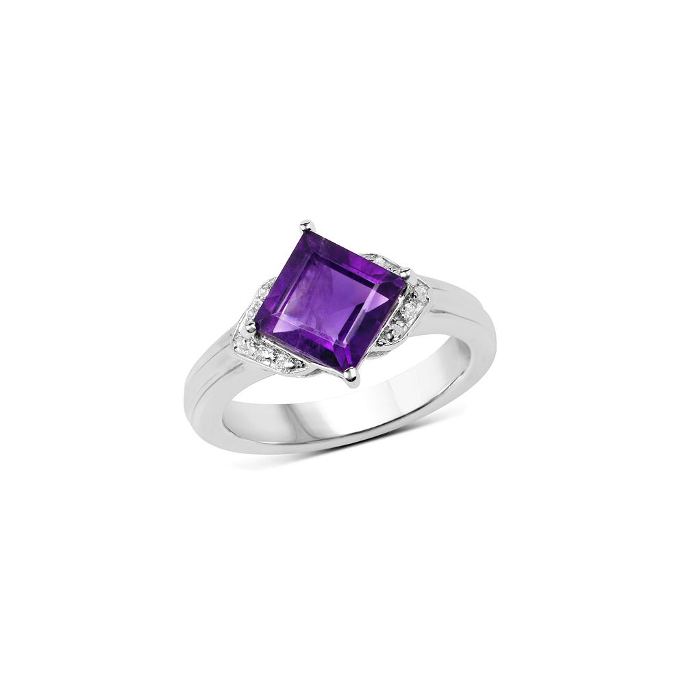 2.55 CTW Genuine Amethyst & White Topaz .925 Sterling Silver Ring