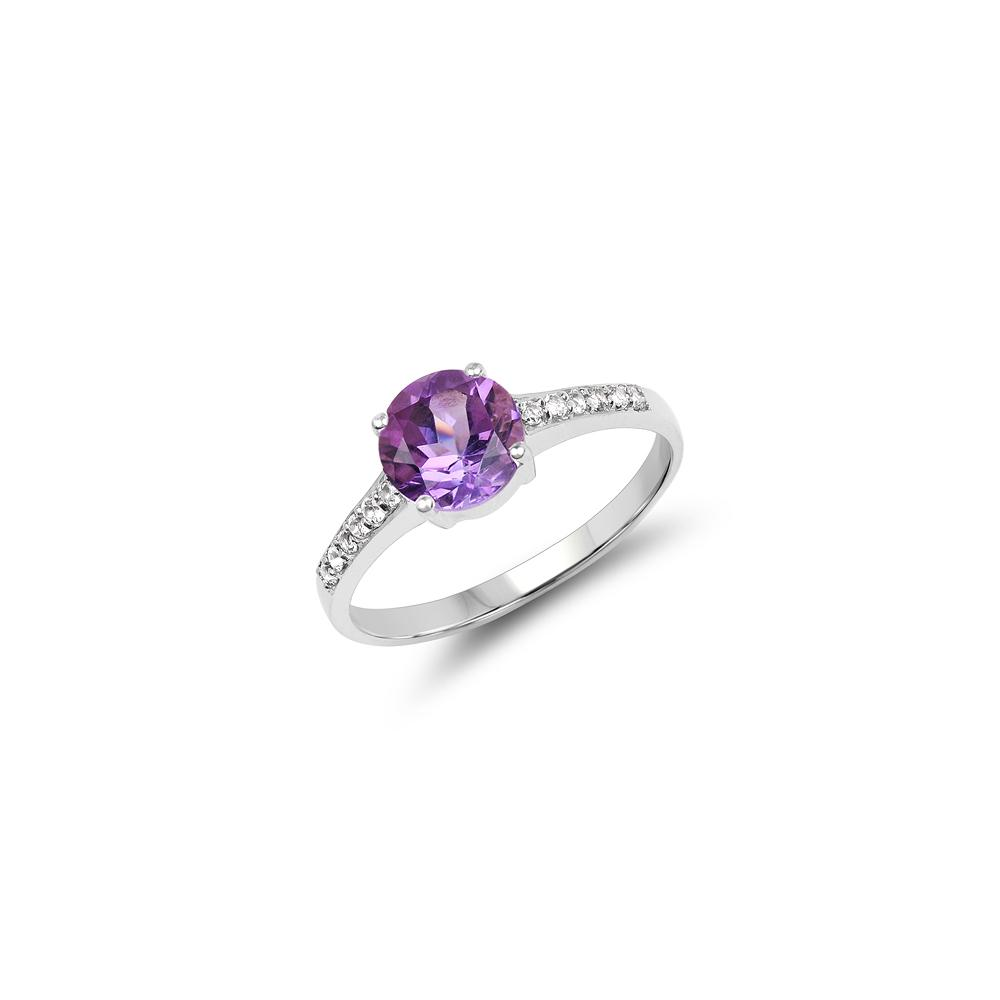1.32 CTW Genuine Amethyst & White Topaz .925 Sterling Silver Ring