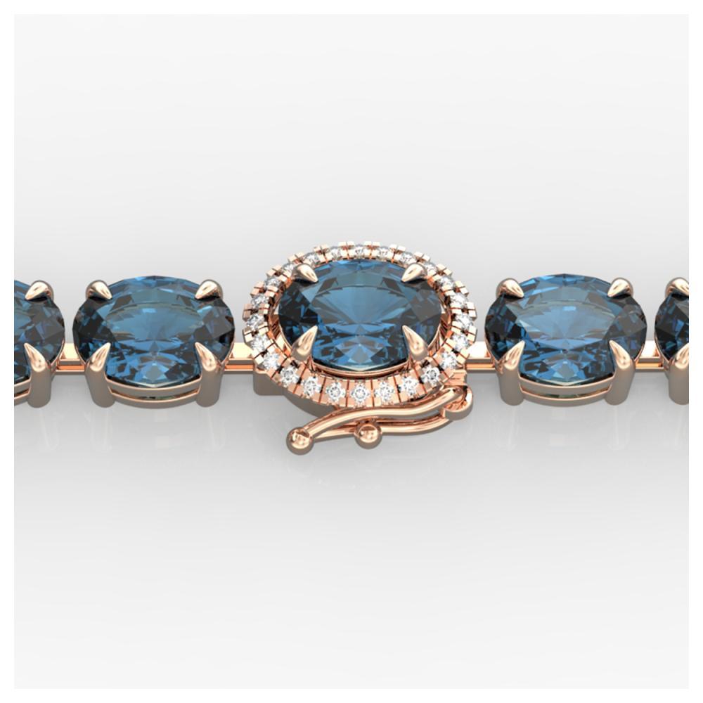 Lot 5630: 19 25 ctw London Blue Topaz & VS/SI Diamond Bracelet 14K Rose Gold