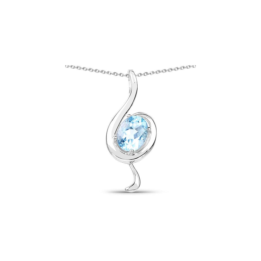 Lot 7844: 2 55 CTW Genuine Blue Topaz  925 Sterling Silver Pendant