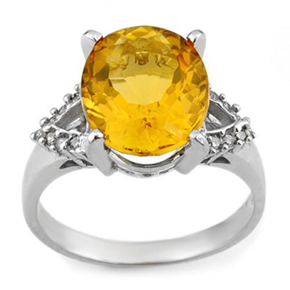 Lot 3003: 6.20 CTW Genuine Citrine & Diamond Ring 10K White Gold