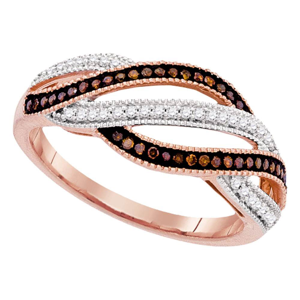 Red Color Enhanced Diamond Fashion Band 10kt Rose Gold