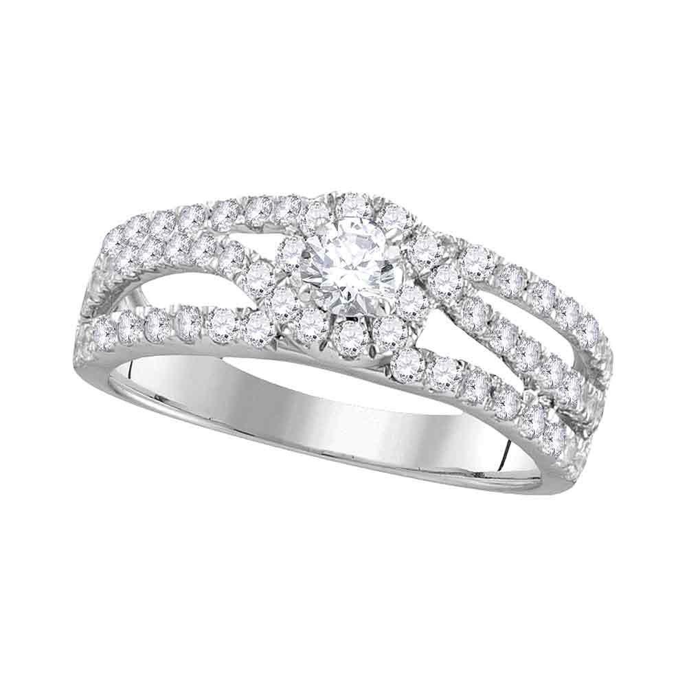 Diamond Solitaire Open Bridal Wedding Engagement Ring 14kt White Gold