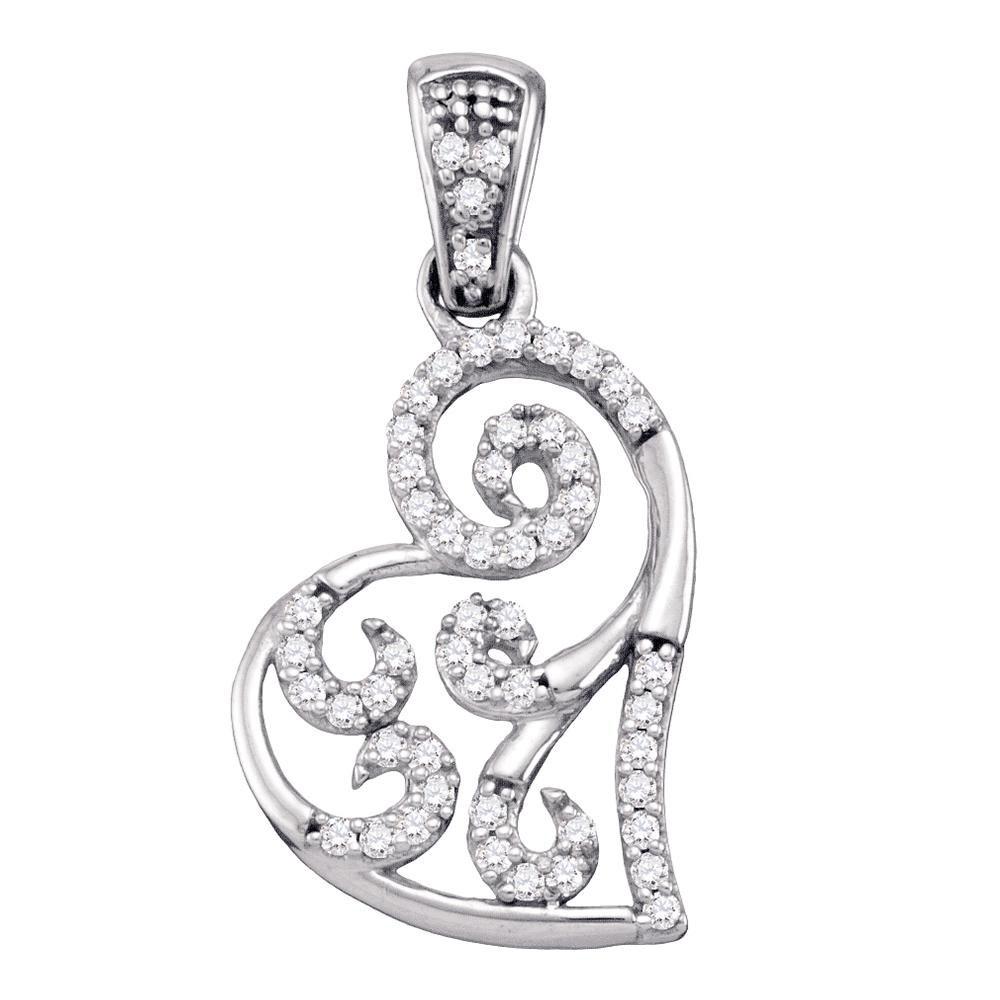 Diamond Whimsical Heart Curled Pendant 10kt White Gold