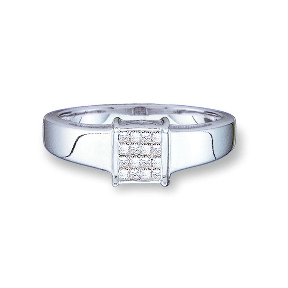 Princess Diamond Cluster Ring 14kt White Gold