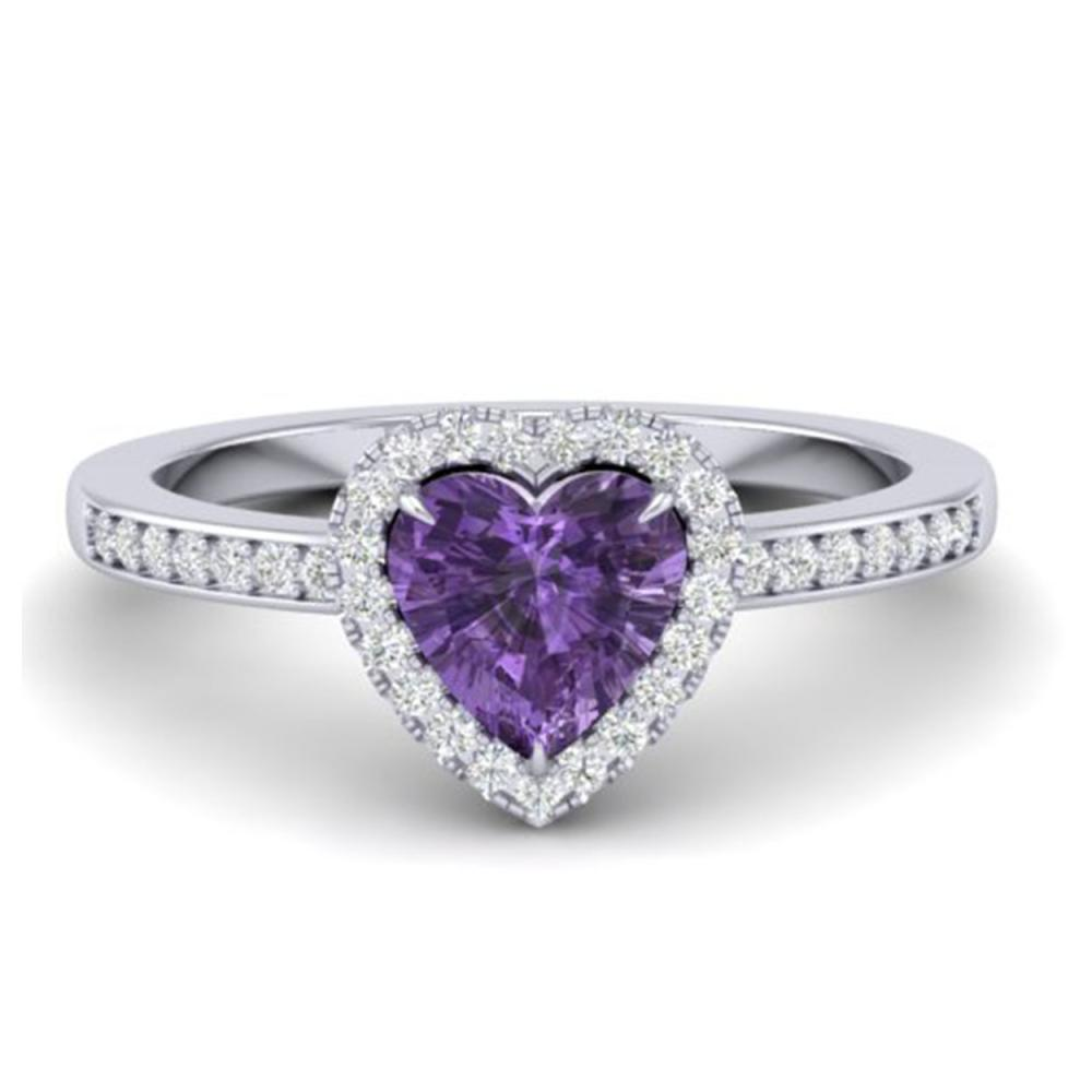 Lot 3012: 1 CTW Genuine Amethyst & Ring Heart Halo 14K White Gold