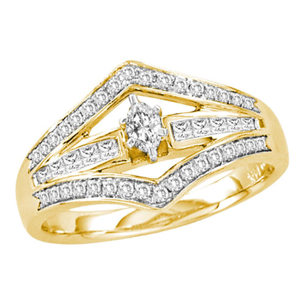 Marquise Diamond Marquise Bridal Wedding Engagement Ring 14kt Yellow Gold