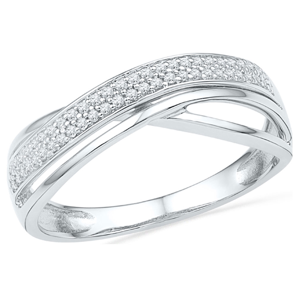 Diamond Crossover Band 10kt White Gold