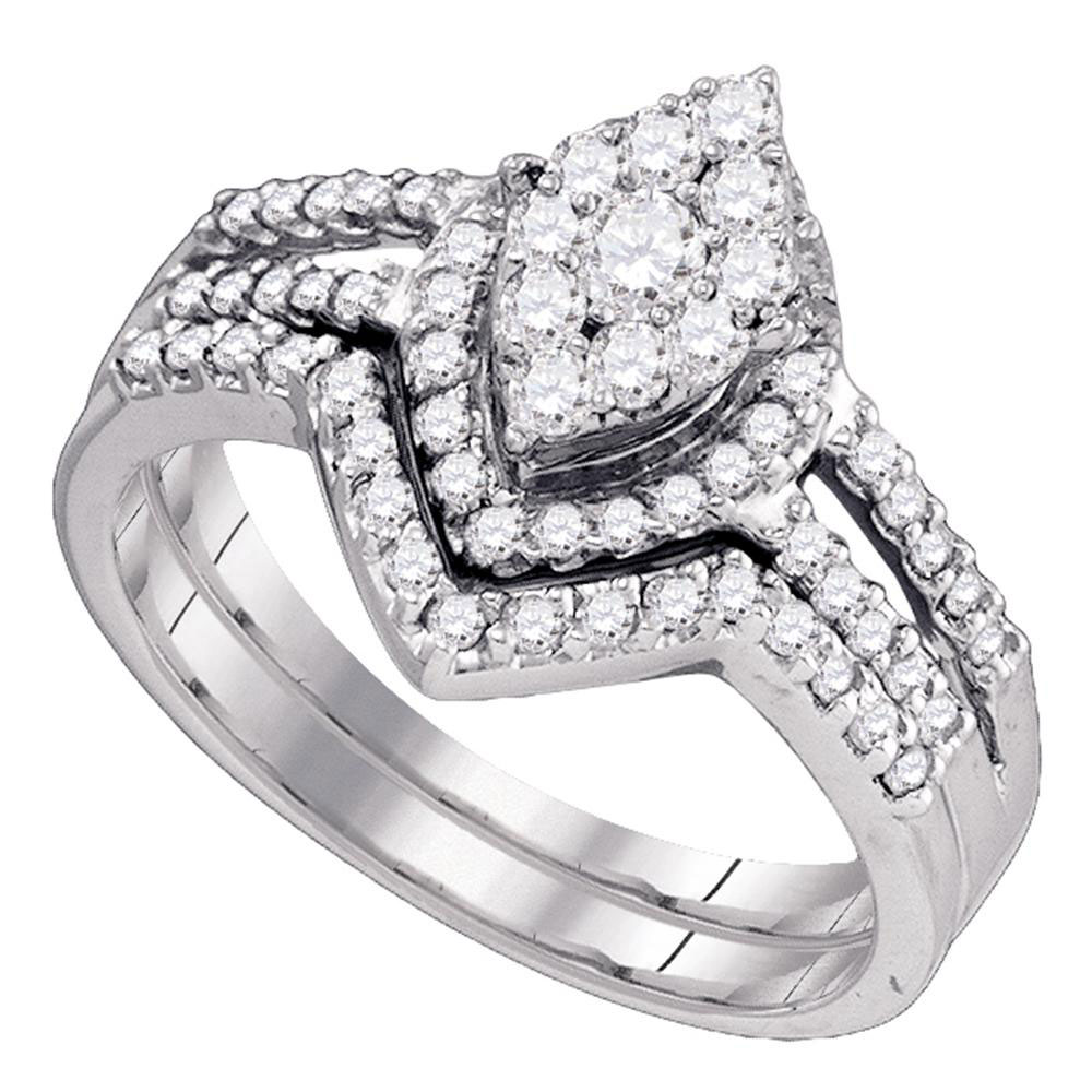 Lot 3019: Diamond Oval Cluster Bridal Wedding Engagement Ring 10kt White Gold