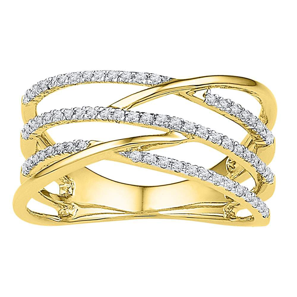 Lot 3020: Diamond Triple Row Openwork Crossover Band 10kt Yellow Gold